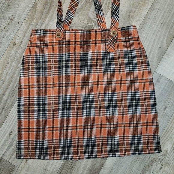 Hollister Orange/Black Plaid/Tartan Skirt/Overall
